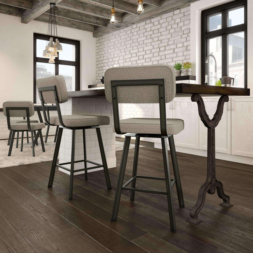 Brixton Swivel Bar Stool with Upholstered Seat and Backrest by Amisco