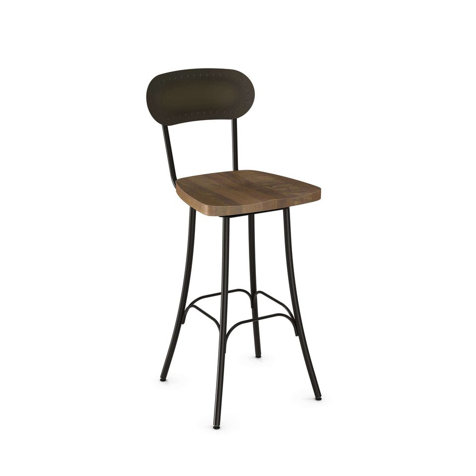Bean Swivel Counter Stool with Distressed Solid Wood Seat and Metal Backrest by Amisco