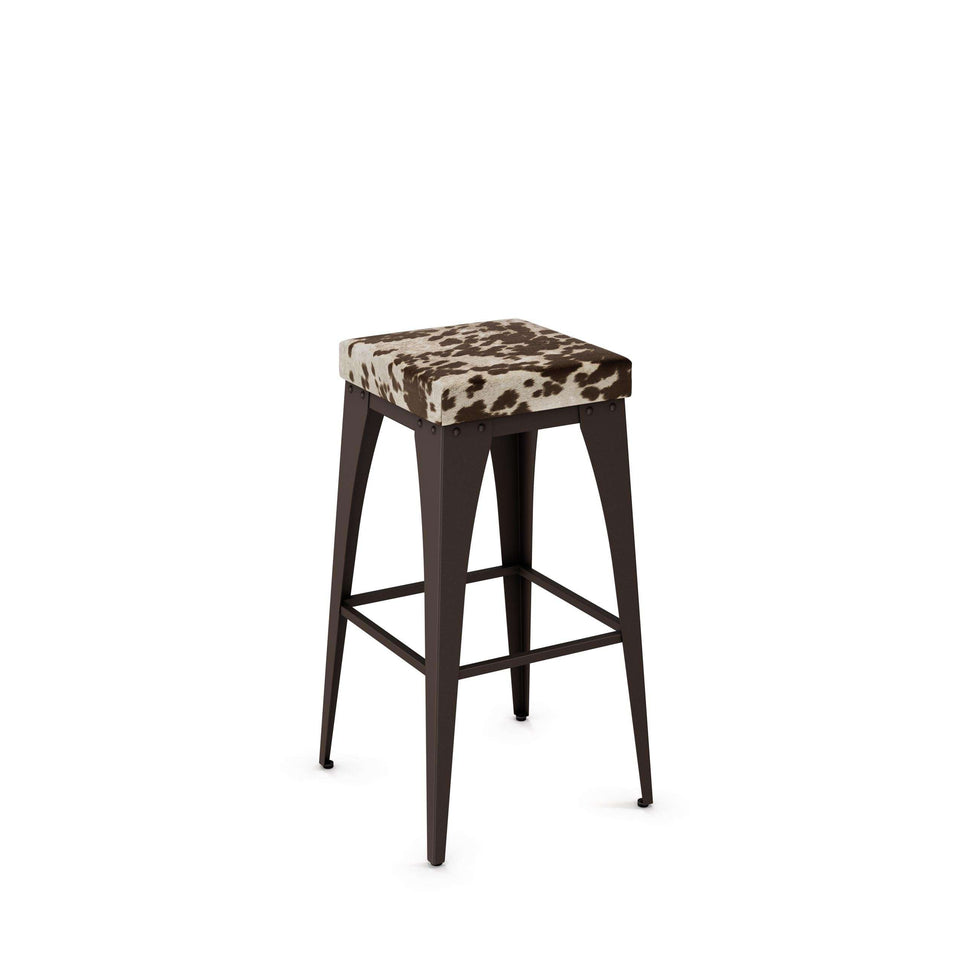 Upright Non Swivel Counter Stool with Upholstered Seat