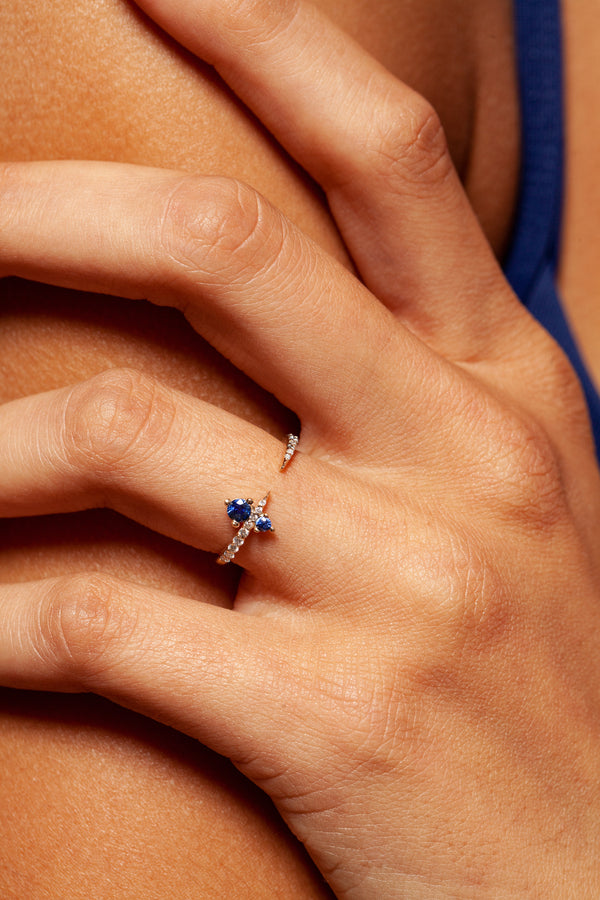 Pave Apex Ring with Sapphire