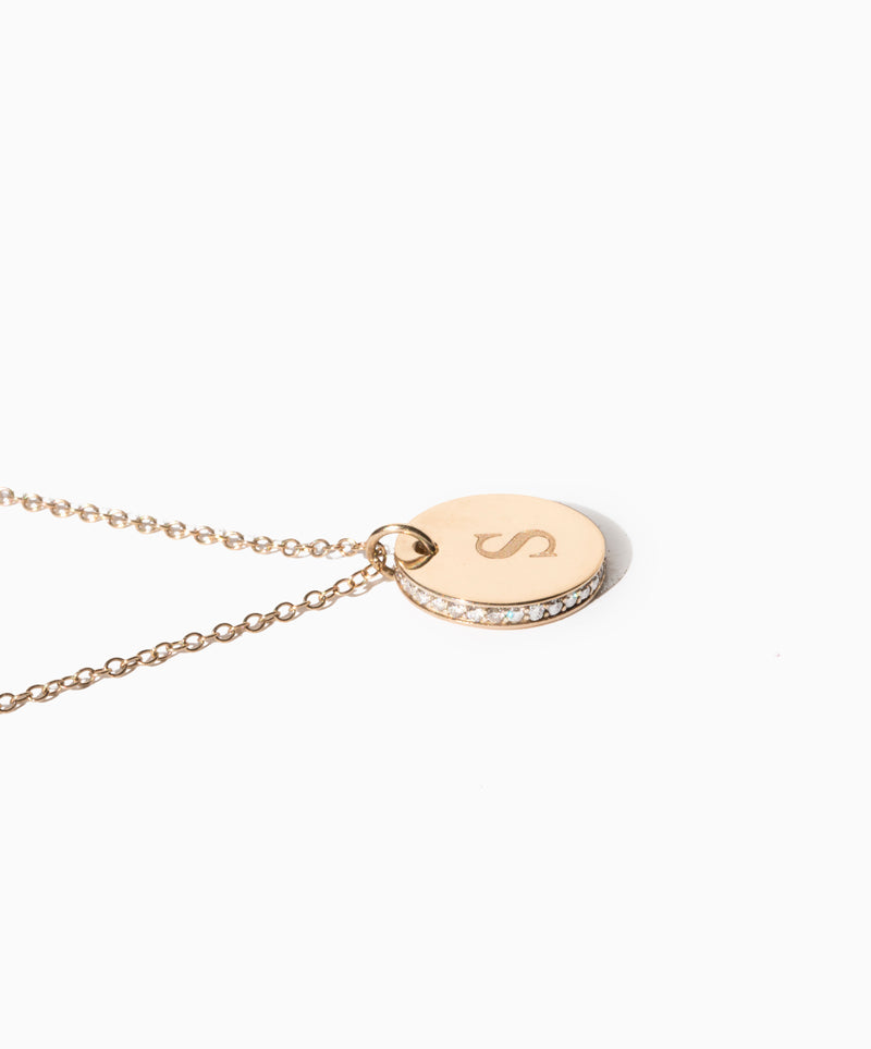 Engraved Initial Diamond Pendant Necklace