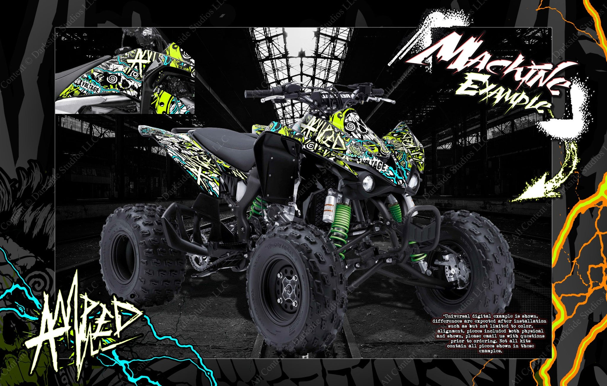 """YAMAHA YFZ450 2014-2015 /""""HELL RIDE/"""" GRAPHICS DECALS WRAP YFZ450 FITS OEM PARTS"""