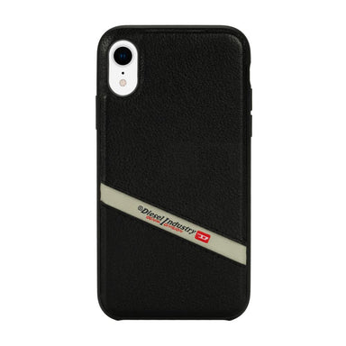 DIESEL - Leather Co-Mold Case Black Leather Diagonal Logo for iPhone XR - caseplay