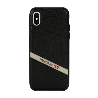 DIESEL - Leather Co-Mold Case Black Leather Diagonal Logo for iPhone XS Max - caseplay