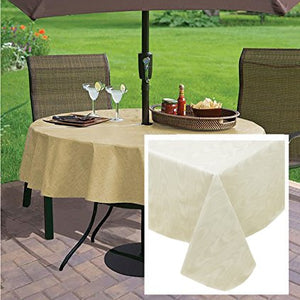 Newbridge Moire Wavy Solid Color Print Heavy Gauge Vinyl Flannel Backed Tablecloth, Indoor/Outdoor