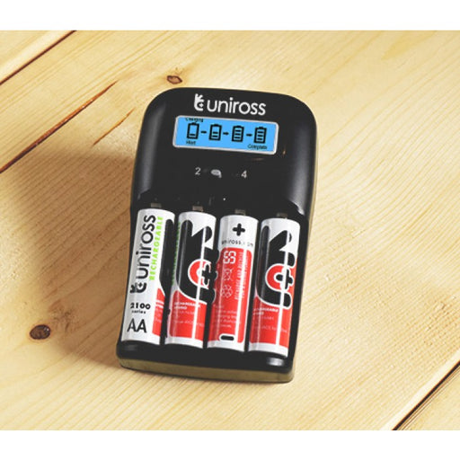 Uniross LCD 1-2h Charger + 4x 2700mAh NiHM (UK Plug)