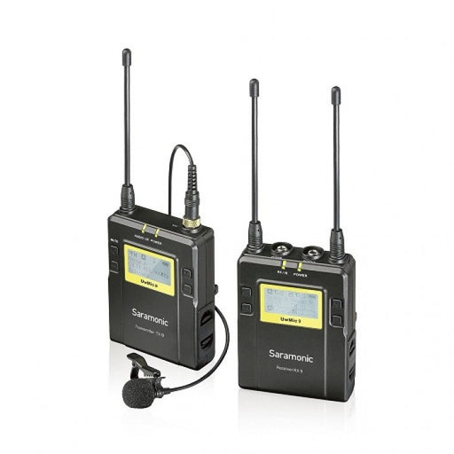 Saramonic UWMIC9 UHF Wireless Camera Mount Receiver, Body Pack Transmitter And Lavalier Mic Package