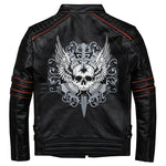 Black Men Skull Embroidery Biker Leather Jacket Plus Size 3XL Genuine Cowhide Short Motorcycle Leather Coat