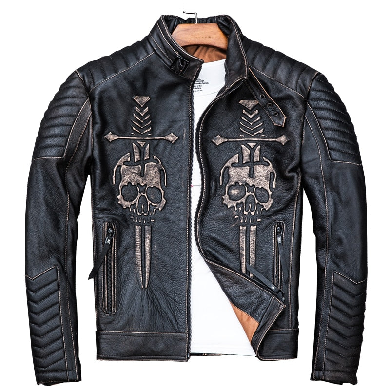 Vintage Black Men Skulls Biker's Leather Jacket Plus Size 4XL Genuine Thick Cowhide Slim Fit Motorcycle Coat