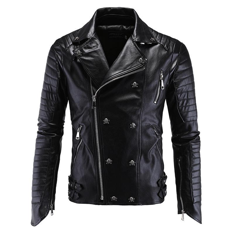 Jackets Skull Rivet Leather Motorcycle Jackets Walking Dead Negan
