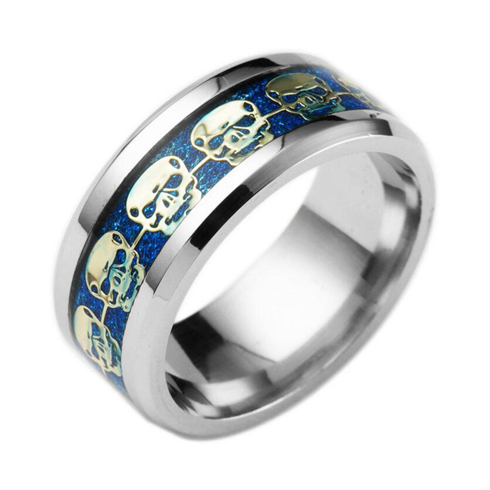 Stainless Steel Skull Ring Gold Filled Blue Black Skeleton Pattern Man Biker
