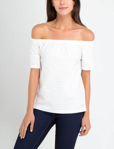 TEXTURED STRIPE BALLET TOP