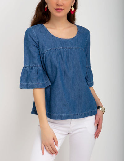 DENIM FLOUNCE SHIRT - U.S. Polo Assn.