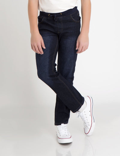 RIBBED DRAWSTRING WAIST JEANS