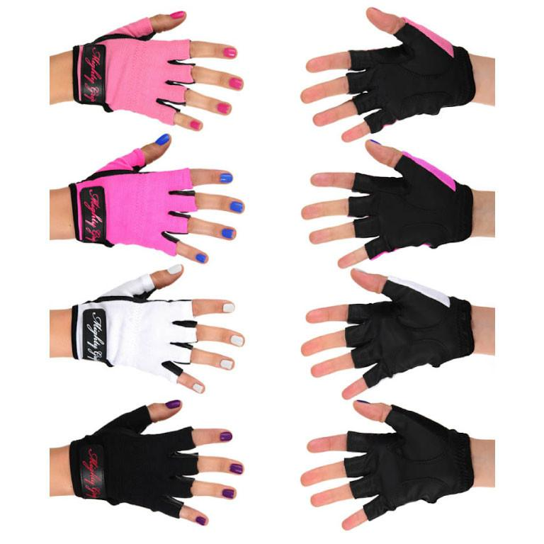 Mighty Grip Pole Dance Training and Fitness Gloves Pink Black White