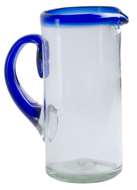 Orion Blue Rim 56 oz Margarita Pitcher - Orion's Table Mexican Glassware