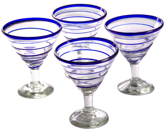 Orion Blue Spiral 12 oz Margarita/Martini - Set of 4 - Orion's Table Mexican Glassware
