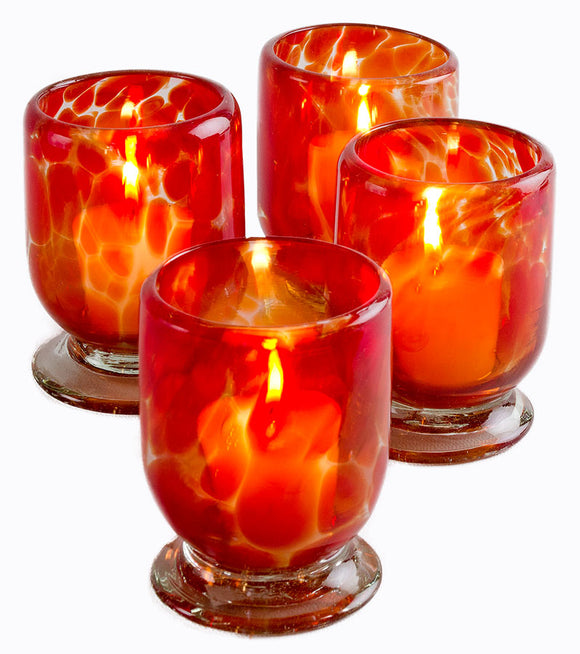 Orion Sedona Votive Collection - Recycled Clear Glass With Red Splash - Set of 4 - Orion's Table Mexican Glassware