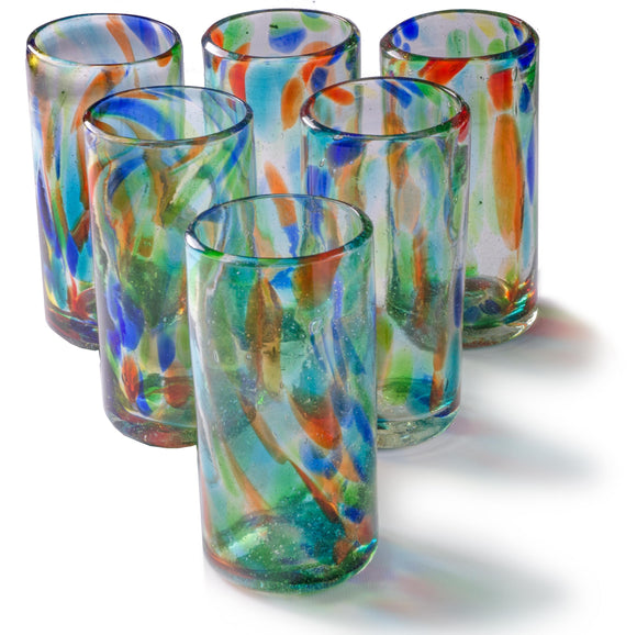 Orion Solid Confetti 22 oz Tall Tumbler - Set of 6 - Orion's Table Mexican Glassware