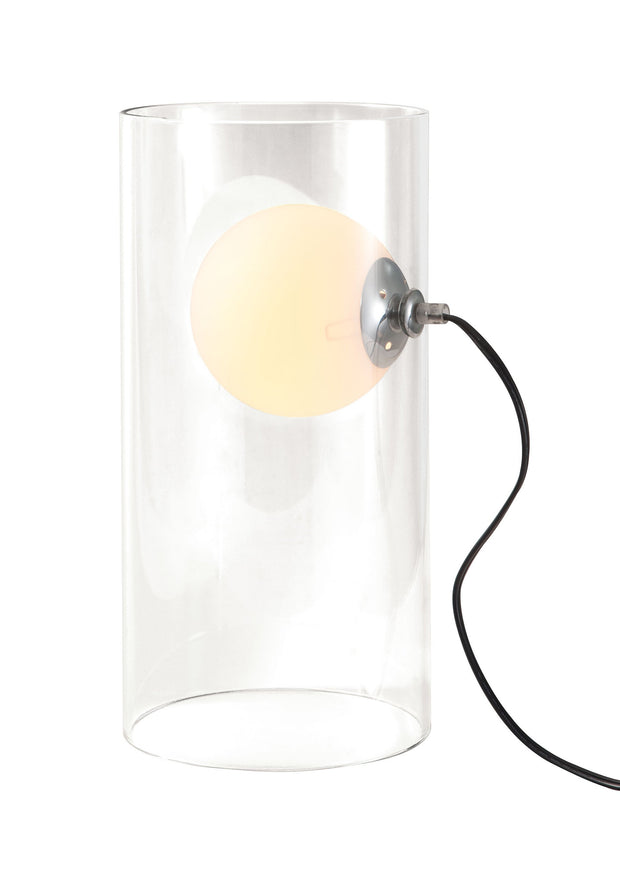 Eruption Table Lamp From the Lighting Collection in Clear Glass with In-line on/off switch. Eruption Table Lamps bulb type is G45 with Max bulb watt at 40W with socket size E12