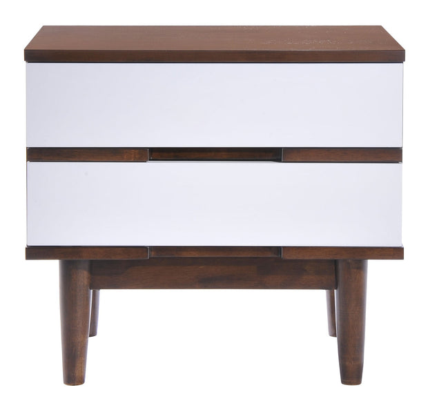 La Night Stand Walnut & White is From the Indoor Collection designed in Rubberwood and Wood Veneer. LA Collection part of the Storage set.