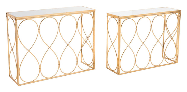 Twist Set of 2 Console Tables Gold