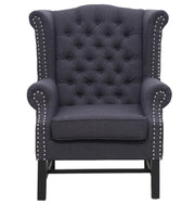 Fairfield Grey Linen Club Chair from the Fairfield Collection  made from Mixed Linen in Grey featuring Hand-applied silver nail head trim and Grey linen upholstery