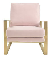 Mott Blush Velvet Chair from the Mott Collection  made from Stainless Steel, Velvet in Blush featuring Handmade by skilled furniture craftsmen and Stainless steel gold frame