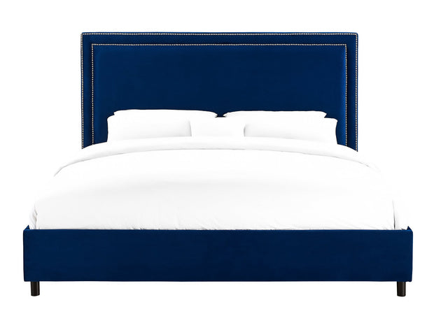 Reed Navy Velvet Bed in King  from the Reed Collection  made from Velvet in Navy featuring Handmade by skilled furniture craftsmen and Individually hand-applied silver nail heads
