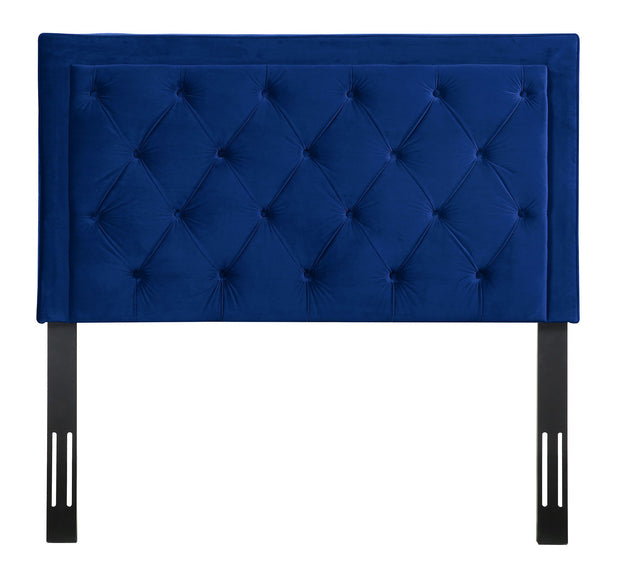 Nacht Twin Headboard in Navy Velvet from the Nacht Collection  made from Velvet, Wood, Metal in Navy featuring Handmade headboard has to be attached to a standard bed frame - not included and Includes button-tufted headboard only