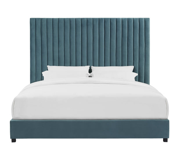 Arabelle Sea Blue Bed in King from the Arabelle Collection  made from Velvet, Wood in Sea Blue featuring Tall headboard with channel tufting and Handmade by skilled furniture craftsmen
