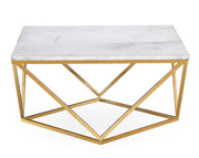 Leopold White Marble Cocktail Table from the Leopold Collection  made from Marble, Steel in White, Gold featuring Handmade by skilled furniture craftsmen and Real white marble top
