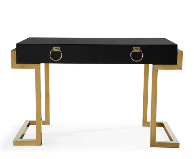 Majesty Desk from the Majesty Collection  made from MDF, Stainless Steel in Black, Gold featuring Handmade by skilled furniture craftsmen and High gloss black lacquer finish