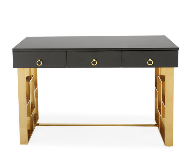 Audrey Grey Lacquer Desk from the Audrey Collection  made from MDF, Stainless Steel in Grey featuring  and