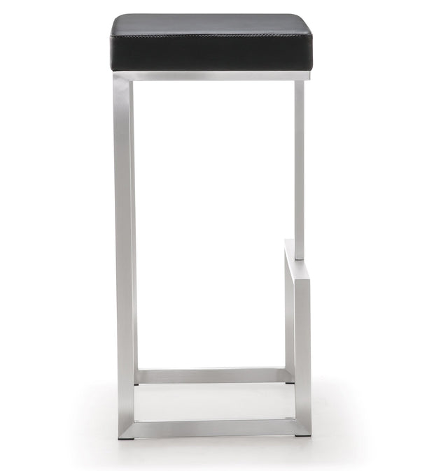 Ferrara Black Steel Barstool  from the TOV MOD Collection  made from Vegan Leather, Stainless Steel in Black featuring Stainless steel frame and footrest and Comfortable Vegan Leather upholstered seat