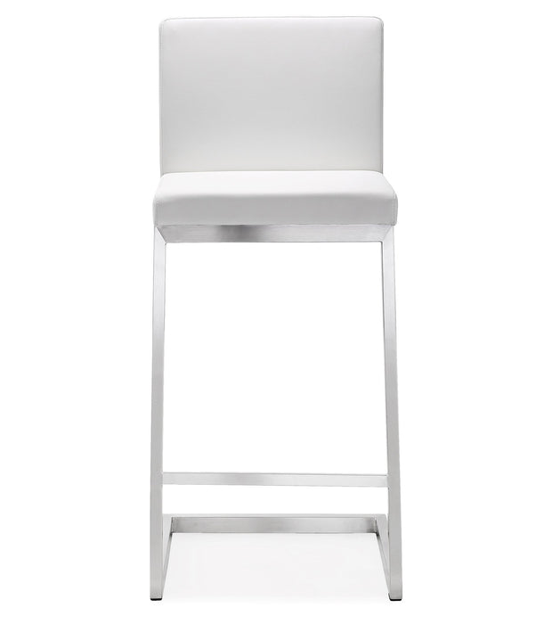 Parma White Steel Counter Stool  from the TOV MOD Collection  made from Stainless Steel, Vegan Leather in White featuring Stainless steel frame and footrest and Comfortable Vegan Leather upholstered back and seat