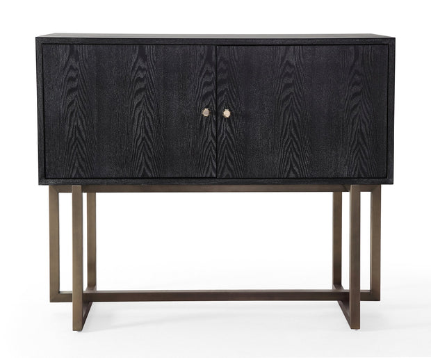Mason Black Buffet from the Mason Collection  made from Wood, Stainless Steel, MDF Veneer in Black, Brushed Gold featuring Handmade by skilled furniture craftsmen and Brushed gold stainless steel base and hardware