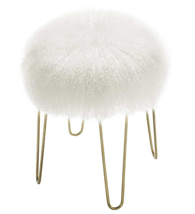 Zelda White Sheepskin Bench