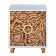 Cavalli Lacquer Burl Side Table from the TOV Luxe Collection  made from MDF in Brown, White featuring Burl lacquer finish and Two sliding drawers with gold iron drawer handles