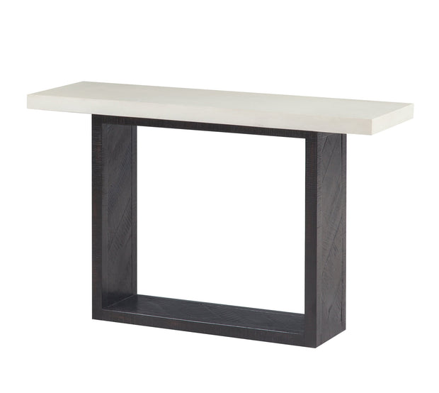 Wyckoff Mixed Console Table from the Wyckoff Collection  made from Concrete, Oak, Acacia in White, Black featuring Handmade by skilled furniture craftsmen and Rubbed black Acacia wood base