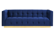 Roma Navy Velvet Sofa from the Roma Collection  made from Velvet, Wood, Stainless Steel in Navy featuring Stainless steel gold base and Comfortable velvet upholstery with a tufted seat and back