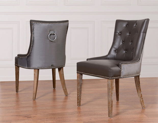 Uptown Grey Leather/Velvet Dining Chair from the Uptown Collection  made from Vegan Leather/Velvet in Grey featuring Grey velvet back and Grey Vegan Leather front and Reclaimed Oak legs on a wooden frame