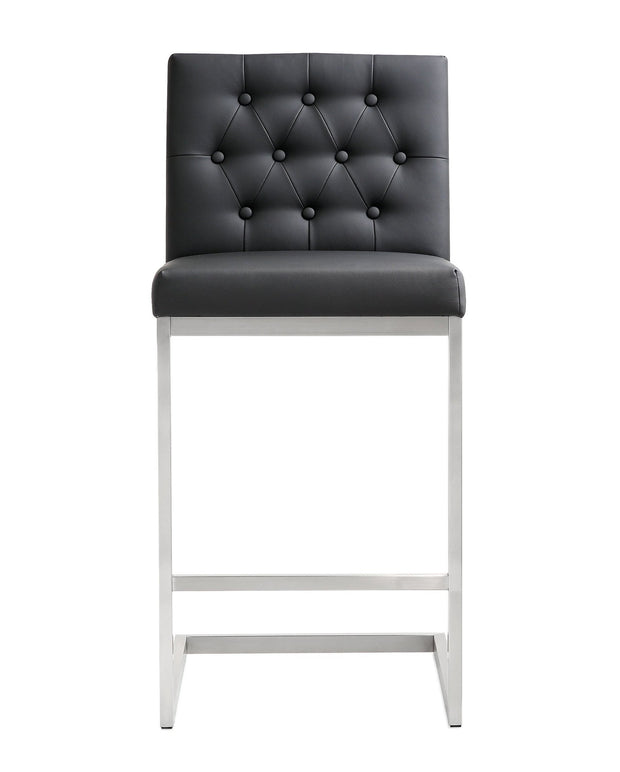 Helsinki Black Steel Counter Stool from the TOV MOD Collection  made from Stainless Steel, Vegan Leather in Black featuring Stainless steel frame and footrest and Button tufted back