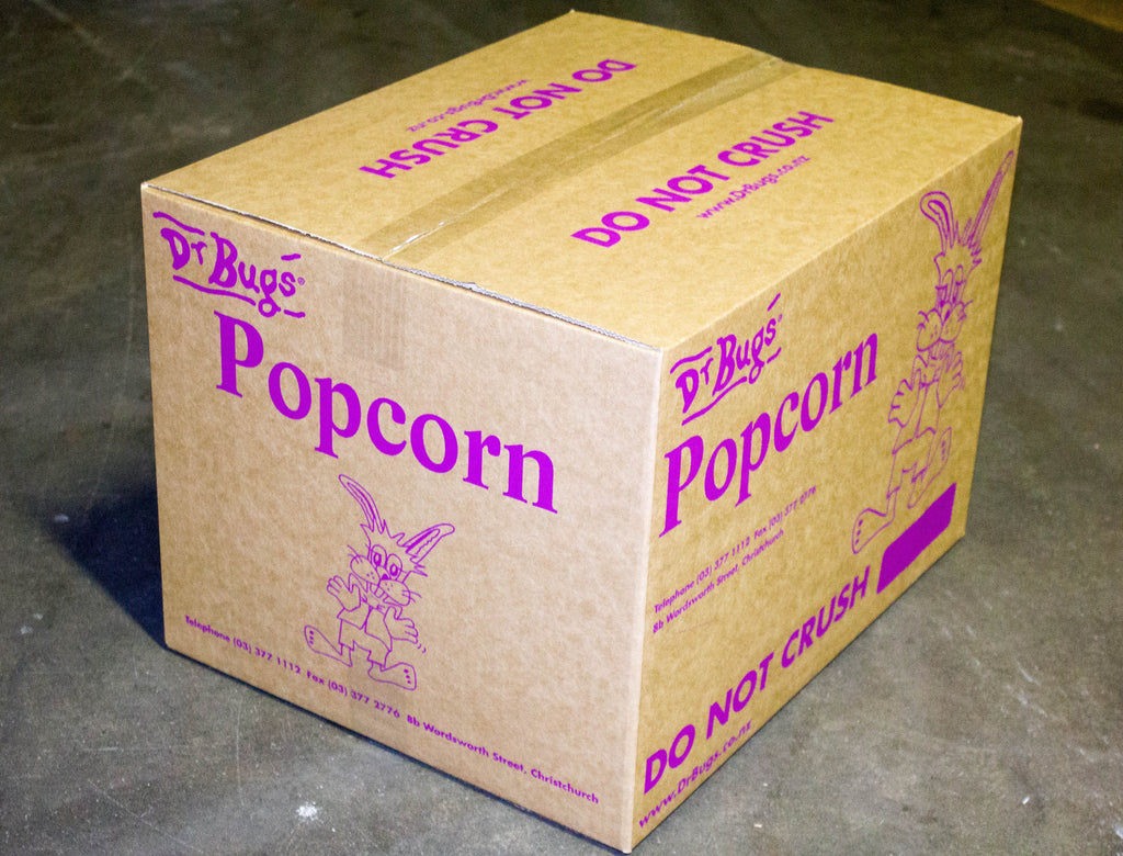 Bulk carton of Dr Bugs buttered popcorn for movie nights and fairs