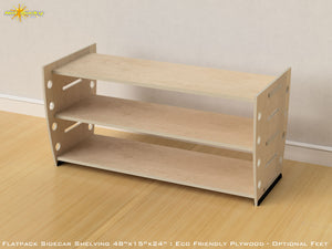Flat Pack Retro Plywood Shelving Kit  with Feet