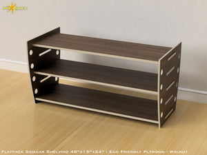 Flat Pack Retro Shelving Kit - Veneer Plywood Walnut