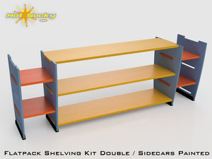 Flat Pack Shelving Kit Single with Sidecars : Painted