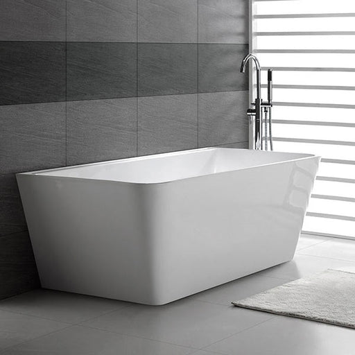 Decina Aria Back-To-Wall Freestanding Bath  black tiling grey floors - the blue space