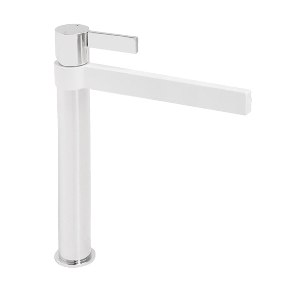 Jamie.J Martini Extended Basin Mixer-Matte White and Chrome - The Blue Space