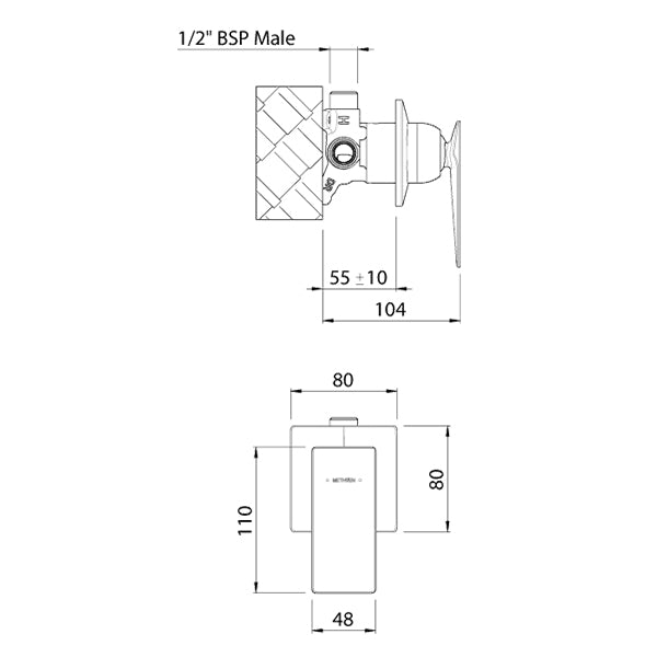 Methven Surface Shower Mixer Technical Drawing